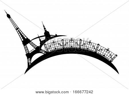 eiffel tower and city sights - black and white Paris vector design