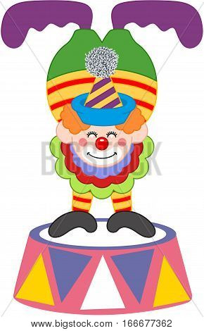 Scalable vectorial image representing a clown on top of a circus platform, isolated on white.