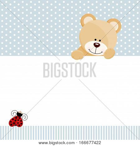Scalable vectorial image representing a teddy bear and ladybird background, isolated on white.