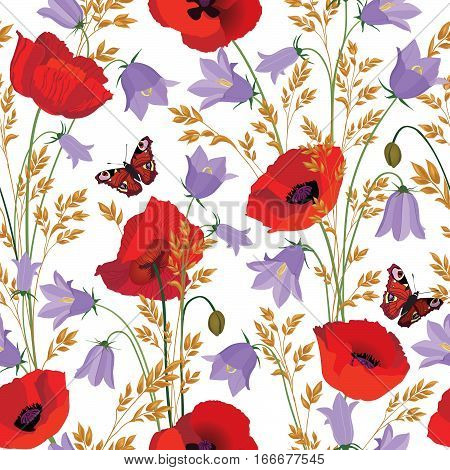 Flowers seamless pattern. Floral summer bouquet tile background. Meadow nature decor with bluebell poppy and butterfly