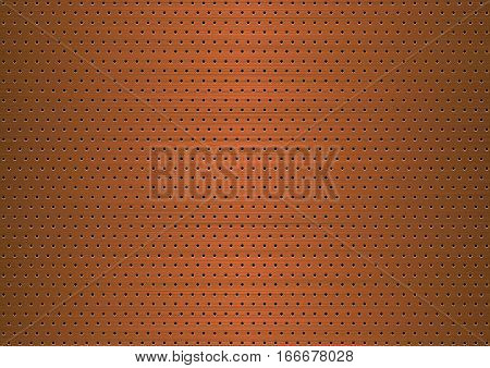 Copper plate with symmetrical holes . Background.
