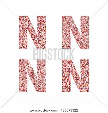 Alphabet letter N with red heart on Valentine's Day. Valentine`s Day Alphabet of Hearts. Love ABC