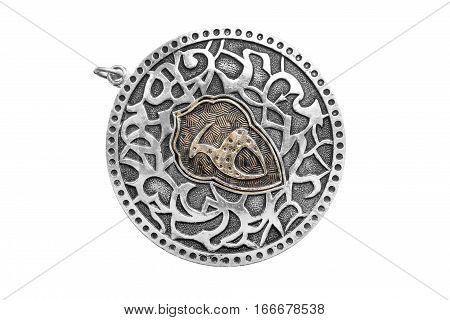 Vintage silver medallion isolated on white background