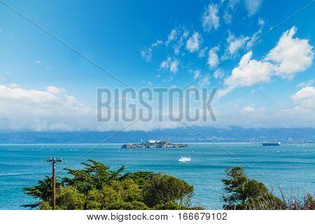 white clouds over Alcatraz island in California