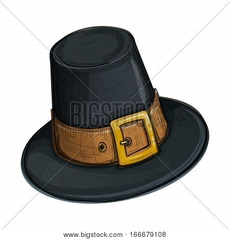 Colorful sketch style cartoon illustration of pilgrim hat with buckle Thanksgiving Day symbol. Vector.