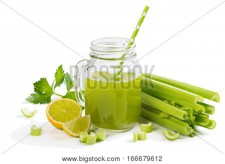 Celery juice with lime isolated on white background.
