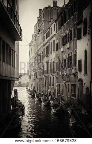 Beautiful black and white picture of gondolas near of the buildings in the Venice narrow channel