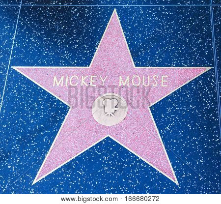 LOS ANGELES CALIFORNIA - NOVEMBER 2 2016: Mickey Mouse star on Hollywood Walk of Fame