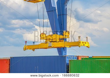 Nyrany container terminal in Czech Republic.Industrial crane loading containers.