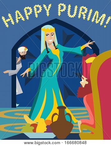 happy purim, The Feast of Esther funny cartoon illustration