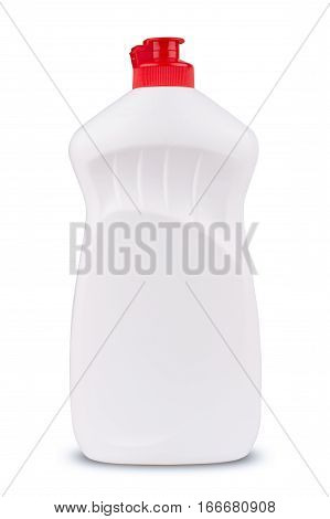 front view of white dish cleaning gel blank plastic bottle with red lid isolated