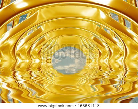 3d illustration of metal gold abstract bionic futuristic structure on sky background
