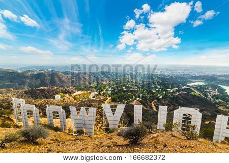 LOS ANGELES CALIFORNIA - OCTOBER 27 2016: Hollywood sign seen from behind with Los Angeles on the background