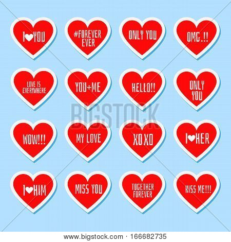 Set of sixteen stickers in form of heart with love message. Romantic and love stickers and tags on Valentines Day. Props for photos for teenager's album with cute and funny phrases