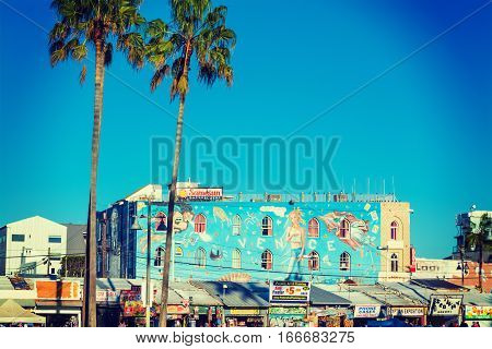 Venice California - November 03 2016: Mural in Venice beach