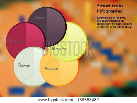 Illustration infographic template with motif of color circles with method SMART tasks. Blurred photo with ludo game motif is used as background.