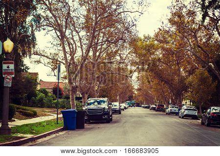 residential street in Los Angeles in California