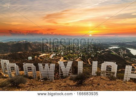Los Angeles California - October 28 2016: Hollywood sign at sunset