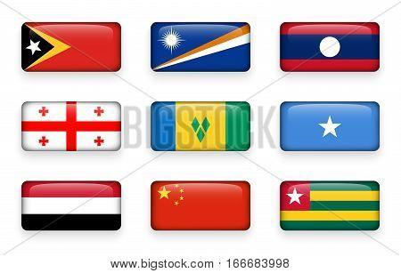 Set of world flags rectangle buttons ( East Timor . Marshall Islands . Laos . Georgia . Saint Vincent and the Grenadines . Somalia . Yemen . China . Togo )