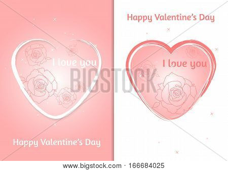 Valentines heart. Set of two Valentine's Day card with blurred background. Vector illustration
