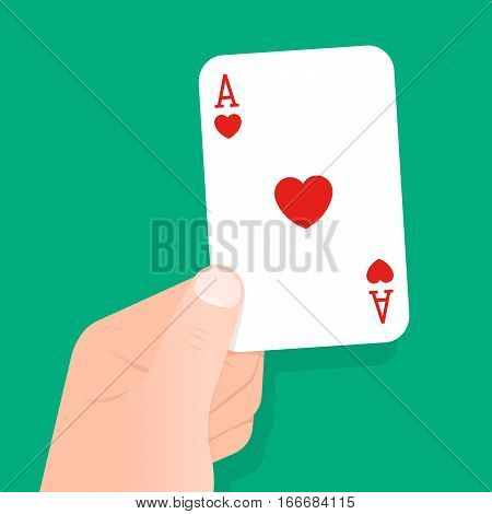 Hand holding up a playing card ace of hearts over a green background conceptual of gambling poker luck winner bet casino or recreational game of cards or bridge vector illustration