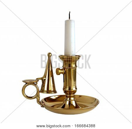 Vintage brass candlestick with candle and snuffer isolated on white background