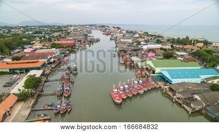 Aerial view of Fisherman village in Thailand