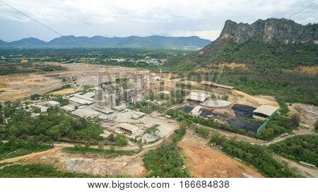 Industry plant building near mountain in Thailand