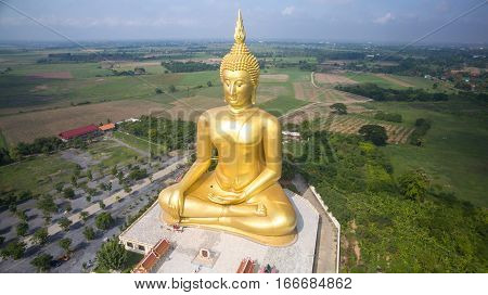 Aerial view of Big Buddha statue in Wat Muangthailand