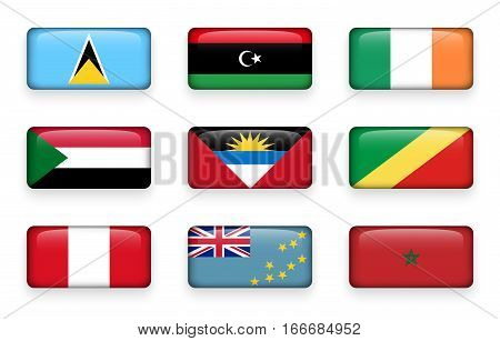 Set of world flags rectangle buttons ( Saint Lucia . Libya . ireland . Sudan . Antigua and Barbuda . Republic of the Congo . Peru . Tuvalu . Morocco )