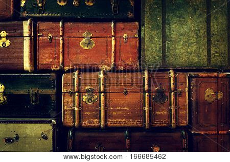 Pattern of Old Vintage Pile Ancient Suitcases. Art Design. Travel Concept Summer Vacation Travel Luggage Traveler.