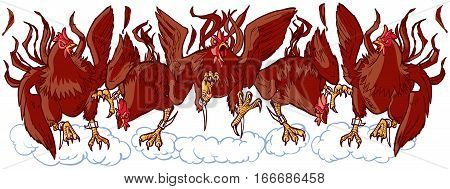 Vector cartoon clip art illustration of a group of tough mean rooster or gamecock mascots charging or running forward. Each character is on a separate layer.