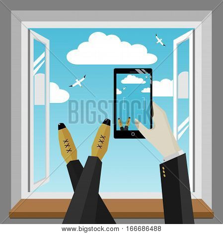 Smartphone in hand of man. Photographed the sky from the window. Vector graphics