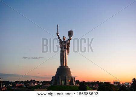 Architectural monument. Kiev Ukraine Motherland summer evening