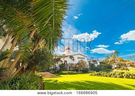 Santa Barbara courthouse on a sunny day California