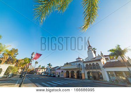 State street in Santa Barbara in California