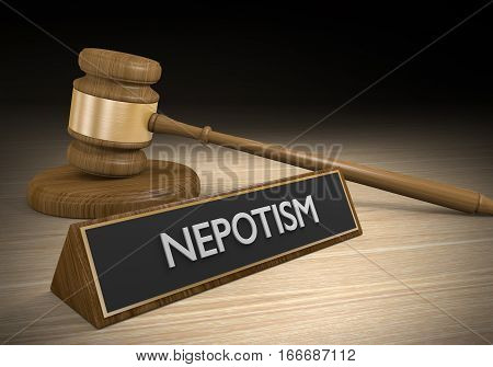Laws against nepotism or favoritism of friends and relatives for jobs and advantages, 3D rendering