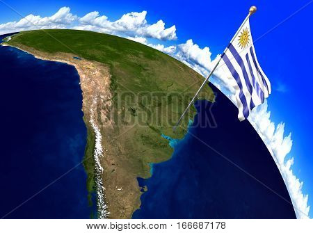 Uruguay national flag marking the country location on world map. 3D rendering, parts of this image furnished by NASA