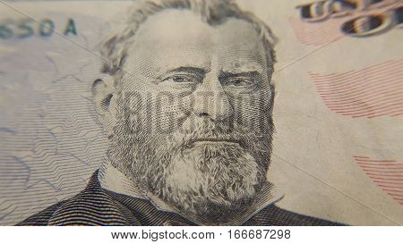Closeup shot of President Ulysses Grant on 50 Dollar Bill