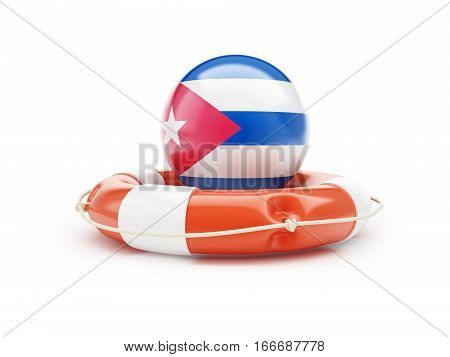 Lifebelt with Cuba flag 3D illustration on a white background