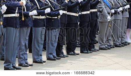 Armed Officers Of The Italian Police In Uniform During The Parad