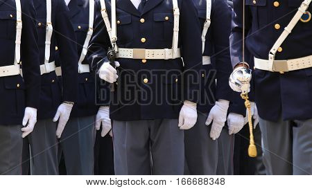 Agents Of Italian Police With Weapons In Military Parade