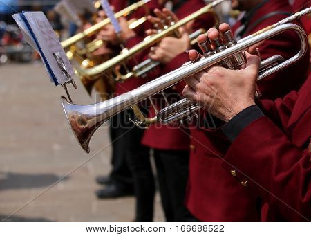 Trumpet Players During An Outdoor Exhibition