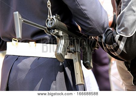 Police Officer With Machine Gun Controls The Drug Dealer
