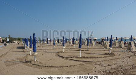 VENICE ITALY - CIRCA SEPTEMBER 2016: Venezia Lido beach