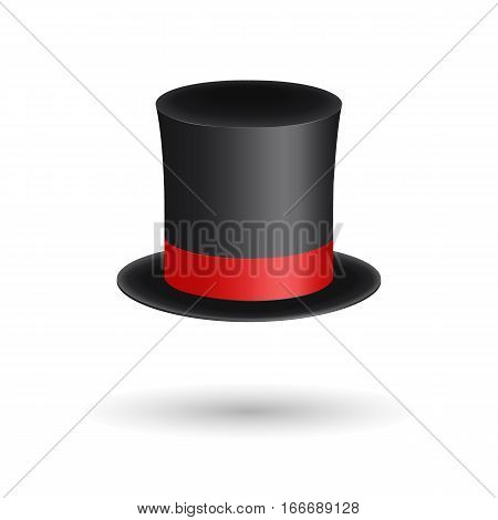 Black gentleman hat cylinder with red ribbon. Elegance and aristocratic symbol. Volumetric icon isolated on white background. Vector Illustration. EPS10 format.