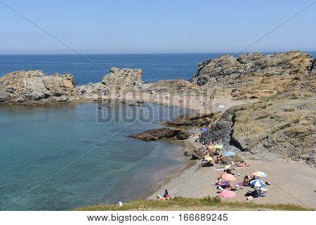 Beach of de Ras cape in Colera Costa Brava Girona province Catalonia Spain