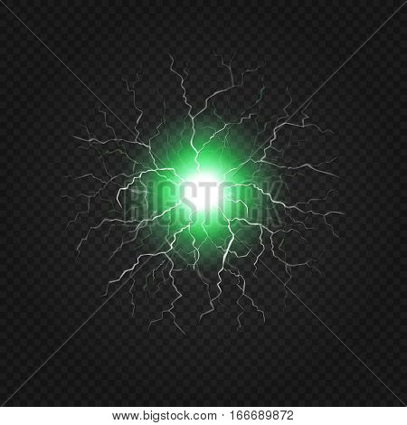 Lightning flash light on a transparent background. Magic and bright thunderbolt effects. Fireball or electricity blast storm Vector Illustration