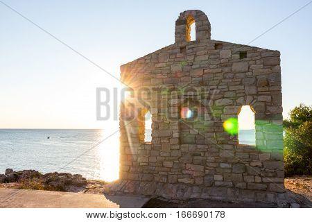 church ruins in the sun in pula, istria, croatia
