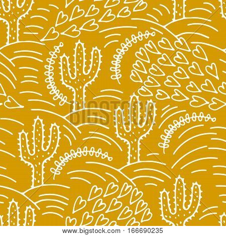 Ink illustration. .Seamless pattern with cactus. Vector illustration of a cactus. Cute hand drawn vector cactus .